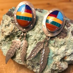 Native American Jewelry - ❗️SALE❗️Sterling Vintage Inlay Earrings